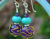 Squiggly Chic Earrings - One-of-a-Kind w Handmade Purple-Yellow and Turquoise Lampwork Glass Beads, Swarovski Crystal and Sterling Ear Wires
