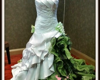 Dip Dye White and Green Wedding Dress available in many colors