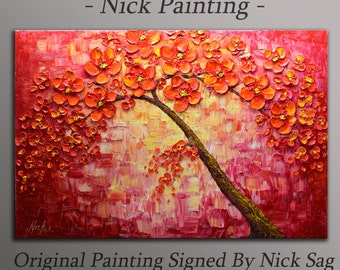 """Oil Contemporary Impressionist Painting Heavy Texture Impasto - Red Passion - By Nick Sag 36"""" x 24"""""""