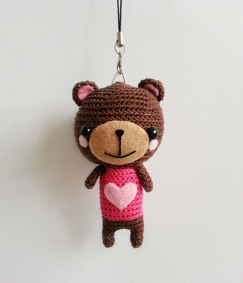 Amigurumi Penguin Cell Phone Strap : Crochet Bear Charm Bear Amigurumi Doll Cute Bag by krokrolamb