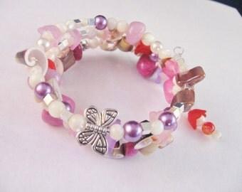 Pink Shell Bracelet, Wrapped Bracelet; Memory Wire Bracelet, Pink Bracelet, Stacked Bracelet, Wrap Bracelet, Gifts for Her, Bracelet