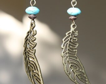 Boho Earrings Bohemian Earrings Leaf Earrings Metal Earrings Filigree Earrings Turquoise Brass Earrings Dangle Earrings Bohemian Jewelry