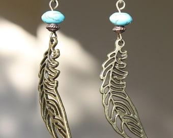 Boho Earrings Bohemian Earrings Leaf Earrings Filigree Earrings Turquoise Brass Earrings Dangle Earrings Bohemian Jewelry Gift for her