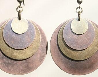 Boho Earrings Copper Earrings Dangle Brass Earrings Mixed Metal Earrings Bohemian Earrings Jewelry Gift For Her Gift Ideas
