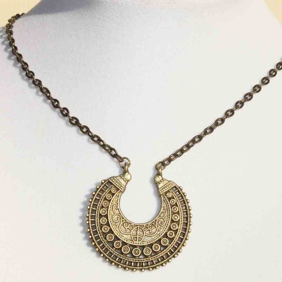 boho necklace bohemian necklace pendant ethnic brass