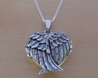 "925 Sterling Silver HEART Locket Guardian Angel Wing Pendant 16, 18 or 20"" Chain"