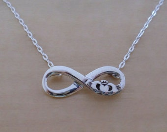 "925 Sterling Silver Infinity Claddagh Pendant & Adjustable 16 - 17"" Chain Necklace"