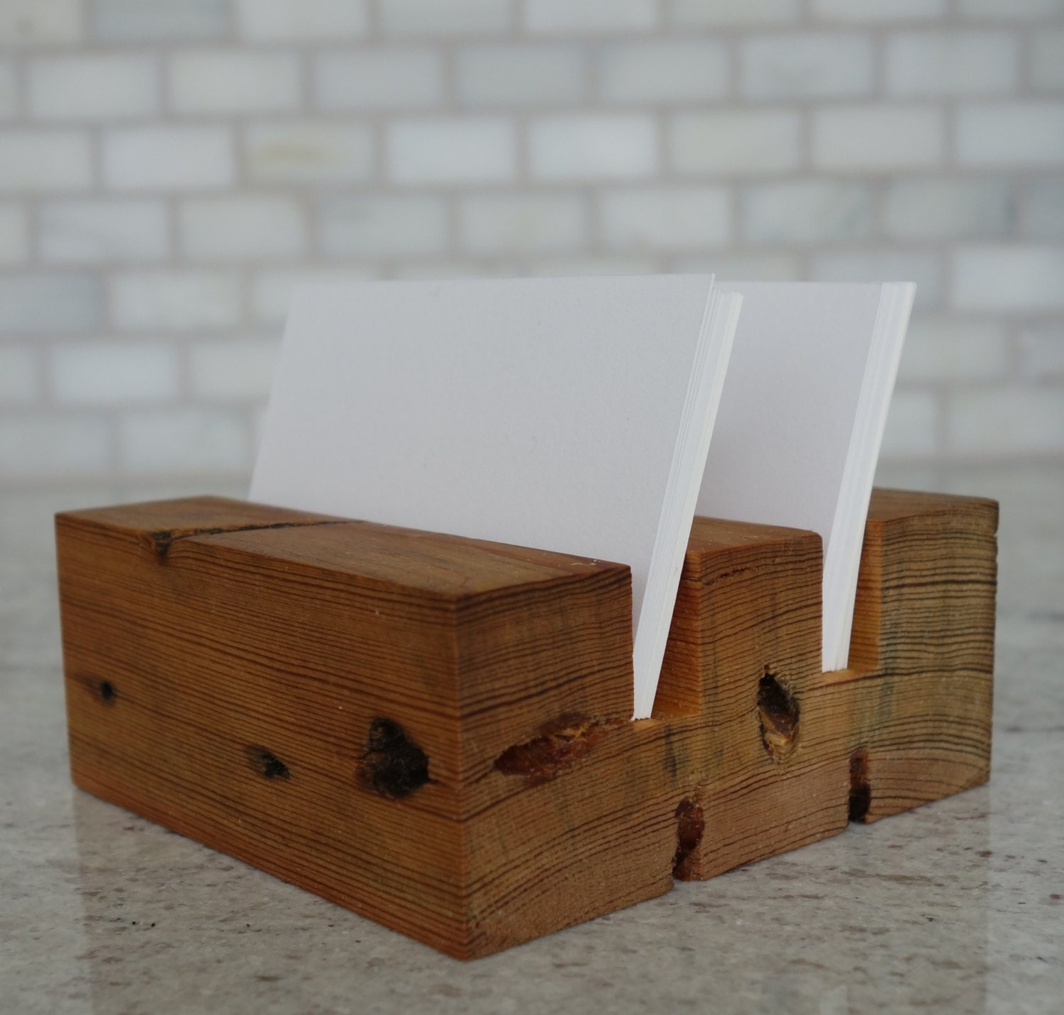 Wood Business Card Holder Desktop business card holder Desk