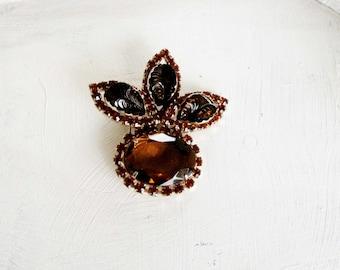 Cathe Vintage Brooch Pin Dark Amber Topaz Orange 1960 Vintage Jewelry