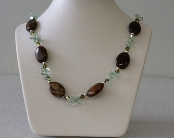 Green Opal and Sterling Silver Necklace