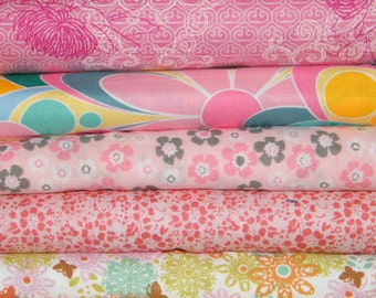 5 FQ Bundle - PINK FLORAL Prints 100% Cotton Quilt Craft Fabric Fat Quarters