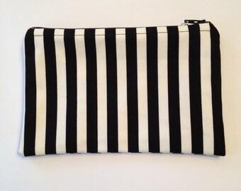 Striped Black and White Zipper Pouch