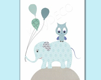 Print Nursery boy nursery boy nursery baby nursery baby turtle green and blue balloons elephant owl balloons nursery boy's bedroom