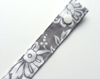 Grey & White Floral Fabric Pacifier Clip