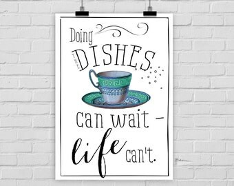 "fine-art print ""Doing the dishes"" teacup vintage"