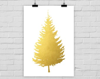 fine-art print fir tree fake gold christmas