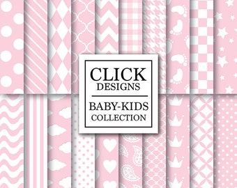 "Baby Girl Digital Paper: ""BABY GIRL BASICS"" digital scrapbook papers with pink baby girl elements, dots crown plaid stars for invites, cards"
