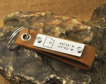 Utah key chain  latitude Longitude keychain Coordinate key chain state keychain leather map key chain state charm