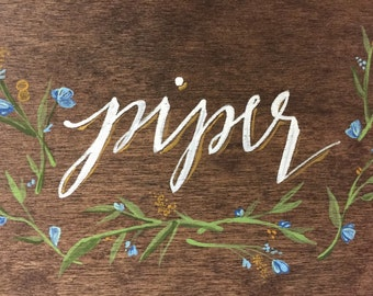 Wedding Name Place Cards - set of 5 // hand painted on wood