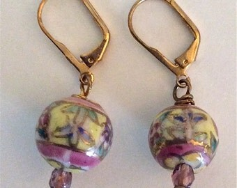 "ITALIAN PORCELAIN EARRINGS   ""The Colours of Italy Collection"" With Czech Crystals  By Andrea Comsky"