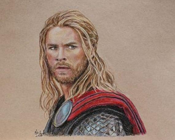 Thor / Dessin De Chris Hemsworth Print De Crayon De Couleur