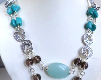 Statement necklace, 2 strand necklace