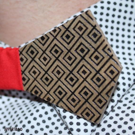 Laberintik. Bow tie of Birch wood cut and engraved laser textured Laberintik.
