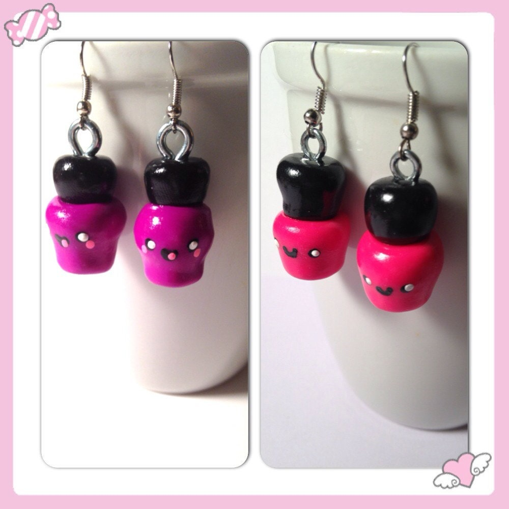 Nail Polish Earrings Kawaii Clay Charms Hot Pink Jewelry