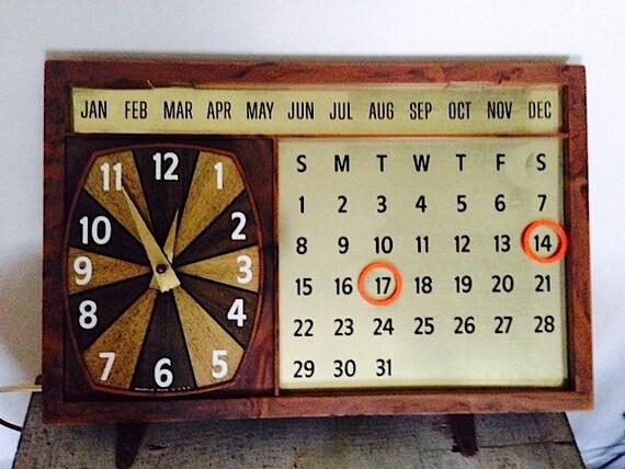 1960 S Magnetic Perpetual Calendar Clock By Spartus