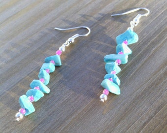 Pink And Turquoise Drop Earrings, Seed Bead Earrings, Neon Earrings, Southwestern Earrings