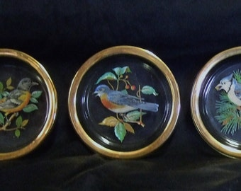 """4 Vintage Coasters with 22K rims in """"American Song Birds"""" patterns by West Virginia Glass Co."""
