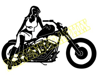 DXF fileof a pretty girl on a motorcycle