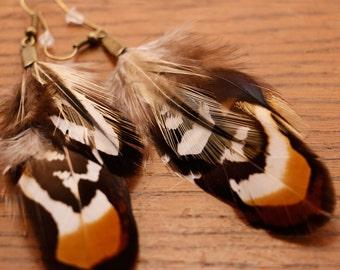 Short Feather Earrings 'Oak'