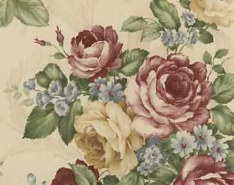 Romantic Victorian Rose and Scroll Wallpaper CH22529 - Sold by the Yard