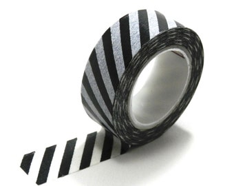 10m Black and White Stripes Washi Tape Stripey Paper Deco Masking Tape 15mm