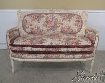 22254E:  French Paint Decorated Settee with Tapestry Floral Upholstery