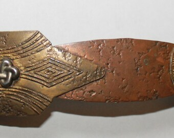 Signed, Marjorie Baer Distressed Copper and Brass Barrette - 1980s