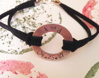 Custom Metal Stamped Washer Bracelet //