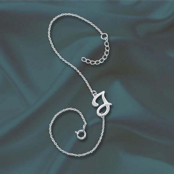 Silver personalized bracelet letter j by silverjewelrymall for Letter j bracelet