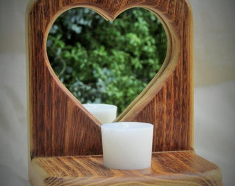 Heart Shaped Mirrored Candle Holder