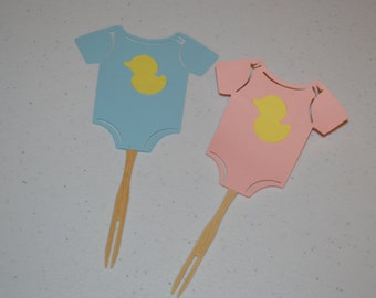 Pink or Blue Onesie Cupcake Toppers/Girl or Boy Onesie Cupcake Toppers/Onesie Cupcake Toppers/Onesies
