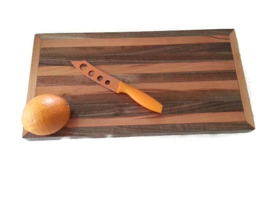 Salvaged walnut cherry cutting board upcycled wood reclaimed for Recycled wood board