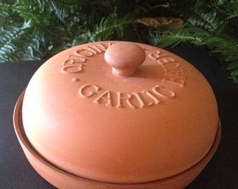 SALE- Vintage Terra-cotta Original Garlic Baker