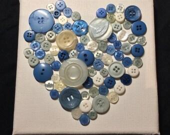 Children's 3D Blue Button Love Heart Canvas Wall Hanging Handmade