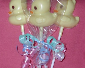 20 Chocolate DUCK Lollipop Party Favors