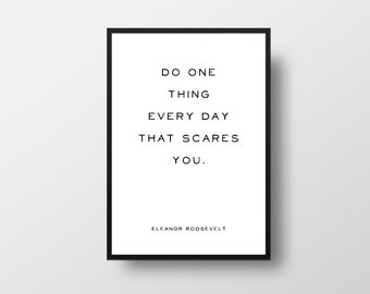 Motivational Quote, Do one thing, Eleanor Roosevelt, Minimalist Art, Vintage Style Quote, Vintage Poster, Inspirational Quote, Typography