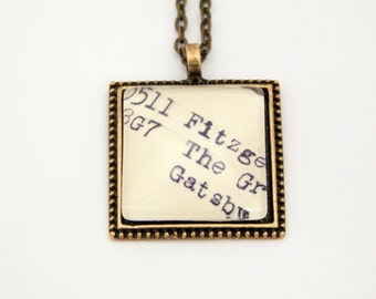 The Great Gatsby necklace, book necklace, library card catalog jewelry, Gatsby jewelry, book lovers jewelry, literary jewelry, book jewelry