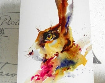 Lovely art greeting card 'Hare Portrait' from an original watercolour painting, hares bunnies rabbits art