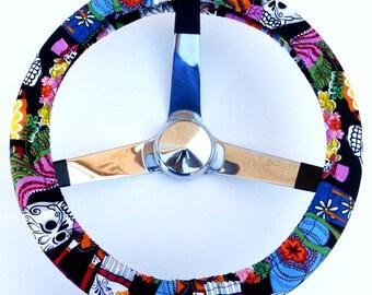 Los Novios Wedding Skulls Sugar Skull Day of the Dead Steering Wheel Cover
