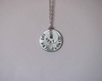 """The Maze Runner Hand Stamped Washer Necklace on Chain - """"The Maze Runner"""" """"Newt"""""""